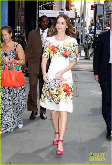 Looking pretty in a floral dress and pink shoes, Emily Blunt arrives at the 'Good Morning America' studios in NYC