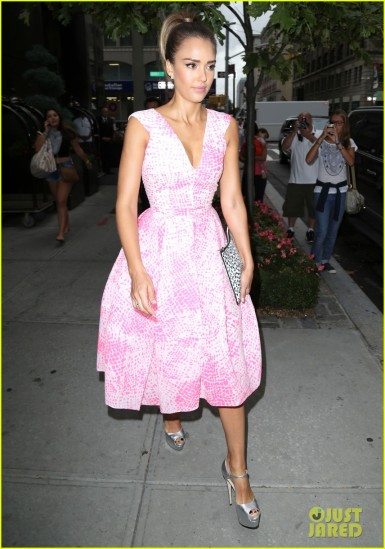 Jessica Alba Wears A Pretty Pink Dress Today