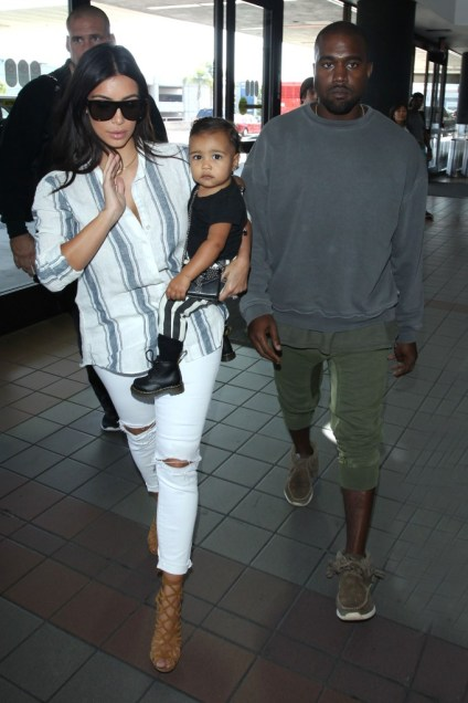 Kim Kardashian, Kanye West and baby North fly out of LAX
