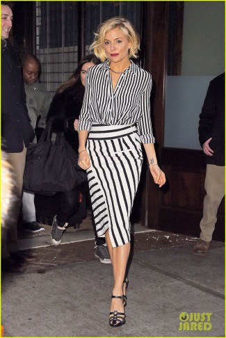 Sienna Miller is sexy in stripes