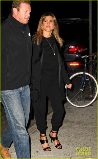 Jennifer Aniston heads to dinner at Omar's after watching Larry David's Fish in the Dark on Broadway in NYC