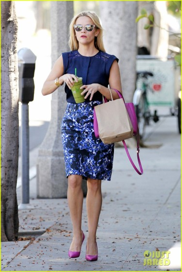 Reese Witherspoon color coordinates for a Green Juice outing **USA ONLY**